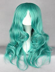 Classical Anime Pretty Soldier Sailor Moon Kaiou Michiru 65cm Long Green Wave Synthetic Wigs