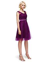 Knee-length Tulle Bridesmaid Dress - A-line Straps with Beading / Flower(s)
