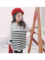 Girl's Casual/Daily Striped Sweater & CardiganAcrylic Winter / Fall White