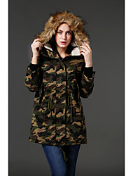 Women's Long Padded Coat,Active / Punk & Gothic Casual/Daily Camouflage-Special Leather Types Polyester Long Sleeve Hooded Green