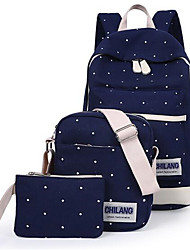 Women Bag Sets Canvas Casual Ruby Blue