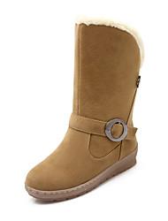 Women's Boots Winter Comfort Fleece Office & Career Casual Athletic Low Heel Rivet Buckle Black Yellow Coffee Hiking Walking Other