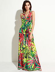 Women's Beach / Plus Size Boho Chiffon Dress,Floral Deep V Maxi Sleeveless Green Polyester / Spandex Summer