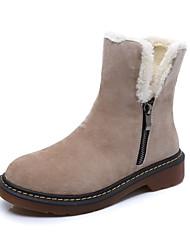 Women's Boots Winter Comfort Suede Casual Low Heel Zipper Black Khaki
