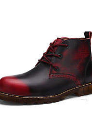 Men's Boots Spring Fall Leather Casual Flat Heel Lace-up Black Dark Blue Light Brown Burgundy