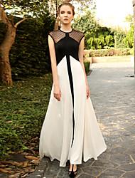 Kadın Dışarı Çıkma Vintage Çan Elbise Yuvarlak Noktalı / Zıt Renkli,Kolsuz Yuvarlak Yaka Maksi Beyaz Modal Yaz Yüksek Bel Streç Orta