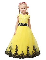 Ball Gown Floor-length Flower Girl Dress - Satin / Tulle Sleeveless Jewel with Appliques / Bow(s) / Lace