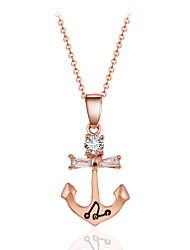 Fashion Classic Style Gold Tone Anchors with Crystal Pendant Necklace