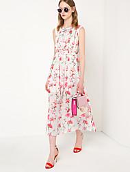 Women's Plus Size Cute / Street chic Chiffon DressFloral Round Neck Maxi Sleeveless White Polyester Spring / Summer