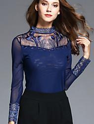 BOMOVO® Femme Mao Manche Longues T-shirt Bleu-B16QAU3