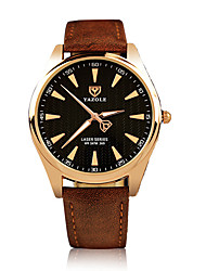 369 YAZOLE Fashion Men's Business Dress Watch Leather Strap Blue Ray Glass Noctilucent Analog Quartz Wrist Watches