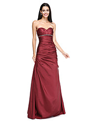 Lanting Bride®Floor-length Taffeta Bridesmaid Dress - Elegant A-line Sweetheart with Beading / Crystal Detailing / Side Draping / Criss Cross