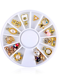 12 Kinds of Alloy Jewelry Style Metal Disc Bow Manicure Pearl Jewelry