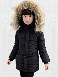 Girl's Casual/Daily Patchwork Down & Cotton Padded,Rayon Winter Black / Red