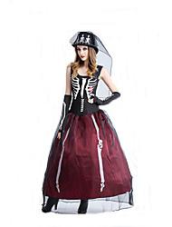 Disfraces de Cosplay Mago/Bruja / Calavera / Vampiros Cosplay de Películas Negro Un Color Vestido / Guantes / SombrerosHalloween /