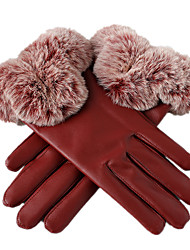 Leather Warm Gloves (Red)
