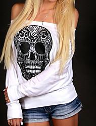 Tee-shirt Femme,Fleur / Imprimé Décontracté / Quotidien simple Automne / Hiver Manches Longues Bateau Rouge / Blanc Polyester Opaque