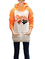 Long Hoodies Femme Décontracté / Quotidien simple / Actif,Lettre Gris / Orange Capuche Manches Longues Coton Automne / Hiver Epais