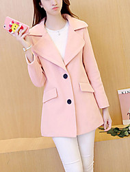 Women's Casual/Daily Simple / Street chic Slim Preppy Style CoatSolid Shirt Collar Long Sleeve