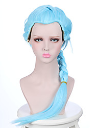 Death Parade Nona Girl's Long Braid Light Sky Blue Color Anime Cosplay Wig with Ponytail Heat Resistant Wigs