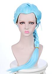 longa trança luz céu azul da cor anime cosplay peruca morte parada nona menina com perucas resistentes ao calor rabo de cavalo