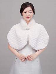 Women's Wrap Shawls Sleeveless Faux Fur Ivory / Red Wedding / Party/Evening Rolled collar 42cm Rhinestone Hidden Clasp