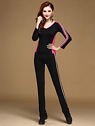 Latin Dance Outfits Training Modal Draped 2 Pieces Long Sleeve Natural Top / Pants