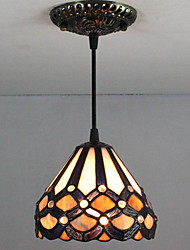 25W Pendant Light ,  Tiffany / Vintage Painting Feature for Mini Style Glass Bedroom / Entry