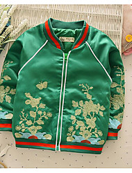 Girl's Casual/Daily Floral Jacket & CoatNylon Spring / Fall Green / Red