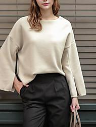Damen Solide Sexy / Einfach / Niedlich Ausgehen / Lässig/Alltäglich T-shirt,Rundhalsausschnitt Langarm Weiß Baumwolle / Polyester