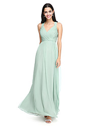 A-Line Straps Floor Length Chiffon Bridesmaid Dress with Criss Cross Ruching by LAN TING BRIDE®