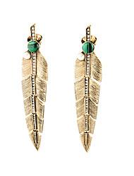 European Luxury Gem Geometric Earrrings Exaggerated Feather Drop Earrings for Women Fashion Jewelry Best Gift