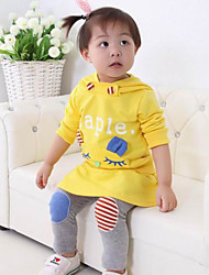 Girl's Casual/Daily Print Clothing SetCotton Winter / Fall Yellow