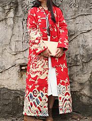 Feminino Casaco Casual Chinoiserie Inverno,Estampa Animal Vermelho Algodão / Linho Colarinho Chinês-Manga Longa Grossa