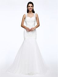 LAN TING BRIDE Fit & Flare Wedding Dress See-Through Court Train Queen Anne Lace Tulle with Appliques Beading Pearl