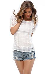 Damen Solide Einfach Lässig/Alltäglich T-shirt,Rundhalsausschnitt Sommer Kurzarm Weiß / Schwarz Polyester Mittel