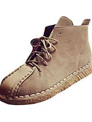 Women's Boots Winter Platform PU Casual Flat Heel Platform Split Joint Black Khaki Walking