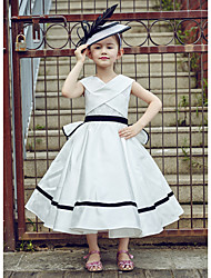 Ball Gown Tea-length Flower Girl Dress - Lace Polyester V-neck with Lace Sash / Ribbon