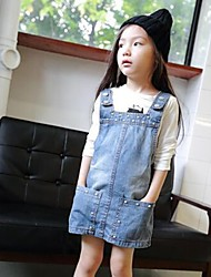 Girl's Casual/Daily Solid SkirtCotton Summer / Spring / Fall Blue