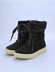 Girl's Boots Comfort Cowhide Casual Black Khaki