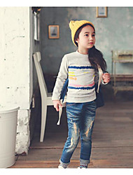 Girl's Casual/Daily Solid TeePolyester Fall Gray