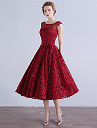 A-Line Scoop Neck Tea Length Lace Cocktail Party Homecoming Dress with Bow(s)