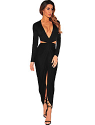 Women's Black Cut Out Drape Slit Long Sleeve Maxi Dress