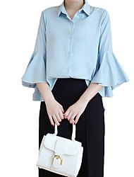 Chemise Femme,Couleur Pleine Travail simple Automne Manches Longues Col de Chemise Bleu / Rose / Blanc / Noir Coton Moyen