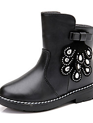 Girl's Boots Spring / Fall / Winter Bootie / Comfort Leather Outdoor / Athletic / Casual Zipper Black / Red Walking