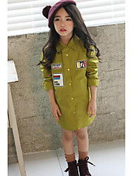 Girl's Casual/Daily Solid ShirtCotton Fall Green
