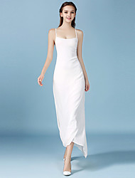 1287  Women's Casual/Daily / Beach / Party Sexy A Line DressSolid Strap Maxi Sleeveless White Rayon