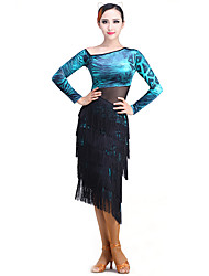 Latin Dance Dresses Performance Tulle / Velvet Tassel(s) 1 Piece Long Sleeve Dress