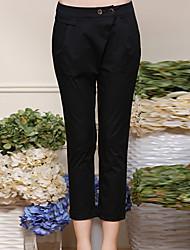 Mulheres Calças Simples Chinos Algodão / Elastano Sem Elasticidade Mulheres