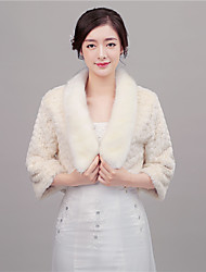 Women's Wrap Coats/Jackets 3/4-Length Sleeve Faux Fur Ivory / Red Wedding Halter 42cm Feathers / fur Hidden Clasp